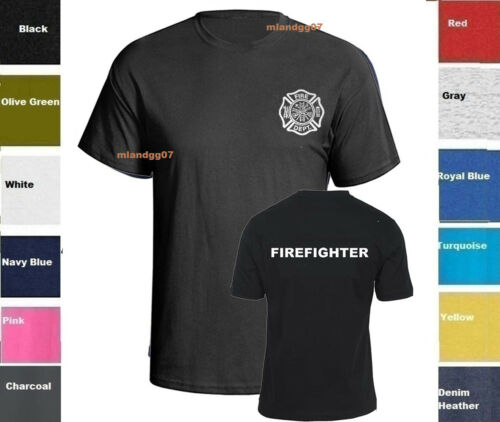 Firefighter T-Shirt Fire Department  - Two Sides Print Shirt SZ S-5XL