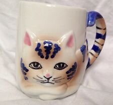 Pier 1 Cat Coffee Mug Tea Cup Kitty Cat Tail Handle Kitten 3D Graphic Feline VTG