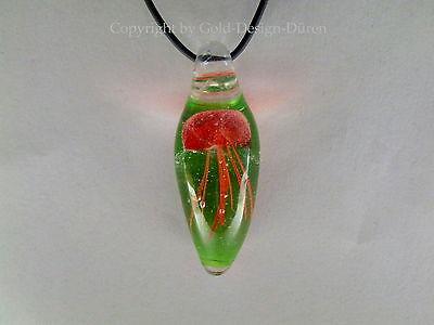 Wunderschöne Lederkette mit Murano Glas Anhänger, mundgeblasen,rote Qualle, edel