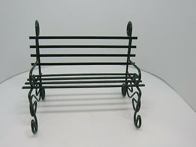 Dollhouse Miniatures 1//12 Scale Green Metal Park or Porch Bench