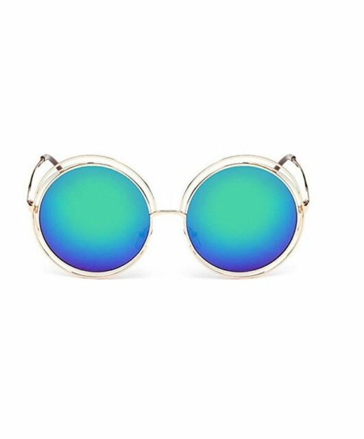 887bcace00 GAMT Fashion Mirrored Colored Lens Unisex Sunglasses Circular Metal Frame  (Gold