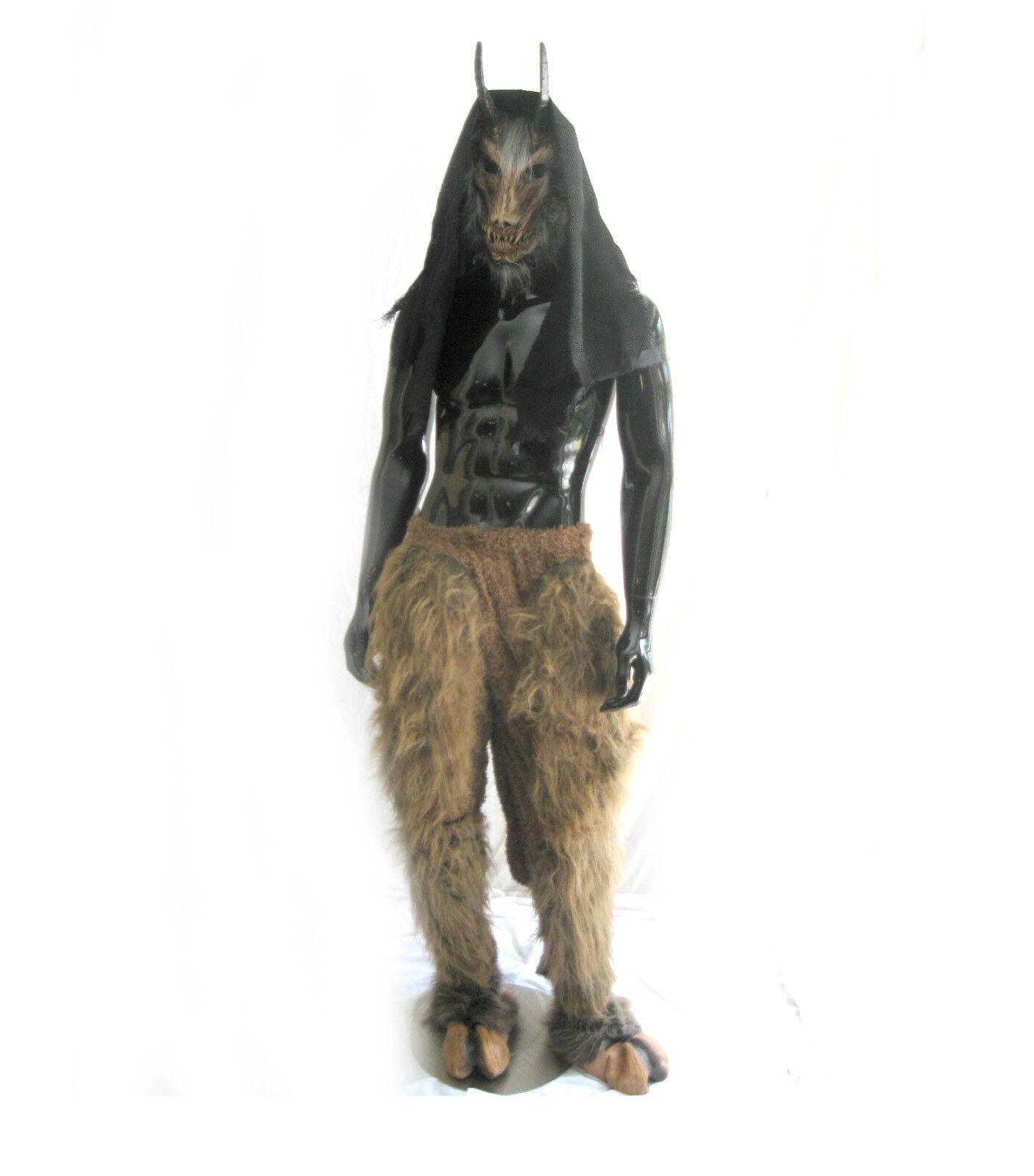 Chèvre Diable de Hell à Cornes & Capuche Adulte Latex Masque Halloween & Poilue