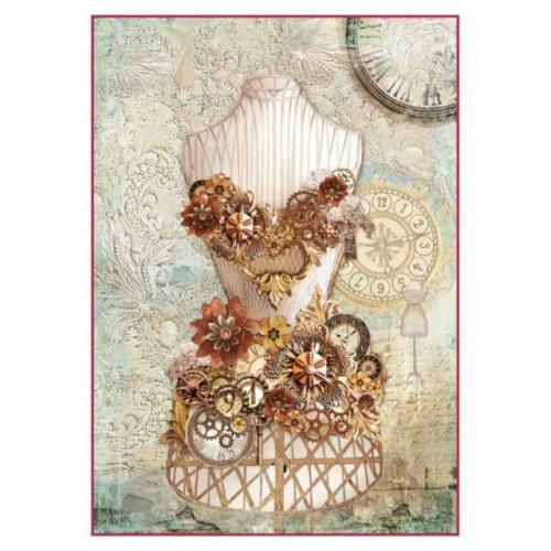 DFSA4286 Clockwise Mannequin Stamperia Rice Paper A4 Decoupage Mixed media