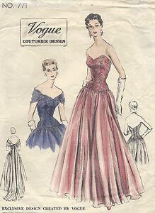 8e5f207c10b1 1953 Vintage VOGUE Sewing Pattern B32 EVENING DRESS/GOWN (E1306) | eBay