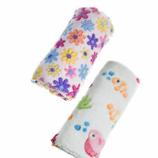 2 x Soft Touch Baby Blankets Cot, Pram, Crib 75x100 cm White & Pink Floral Fish