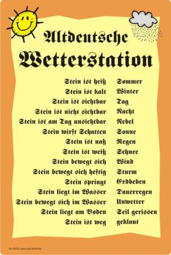 2 varieties Wetterstein Gartendeko Weather Table Humor-Weather Station
