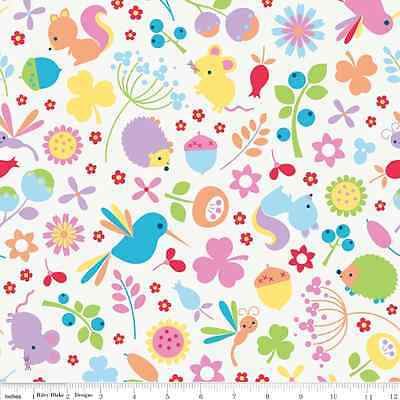 "Riley Blake "" Wildflower Meadow "" Igel - Vögel - Blumen - weiß - Baumwollstoff"