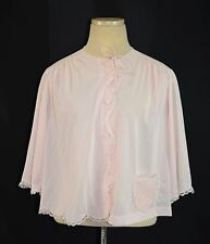 Vintage 1950's SHADOWLINE Pink Nylon Flower Embroidery Lace Bedjacket Size Small