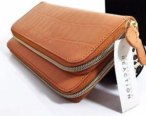 Kenneth-Cole-Croc-Embossed-Genuine-Leather-Double-Zip-Clutch-Wallet-Orange