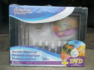 Details About 23 Piece Acrylic Painting Starter Kit 4 Sizes Of Brushes 8 Colors Plus More