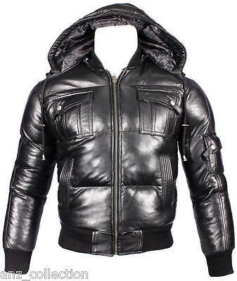 Men/'s Royal Black Napa Baseball Hooded Slim Good Looking Classic Leather Jacket