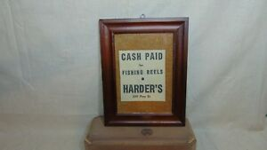 OLD-NEWSPAPER-ADD-FRAMED-CASH-PAID-FOR-FISHING-REELS-HARDER-039-S-WILLAMSPORT-PA