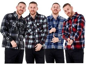 New-Men-s-Lumberjack-Fleece-Check-Casual-Warm-Work-Shirts-Tops-Size-M-to-3XL