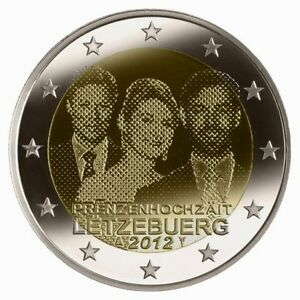 * 2 EURO COMMEMORATIVE - UNC - LUXEMBOURG 2012 - MARIAGE PRINCIER