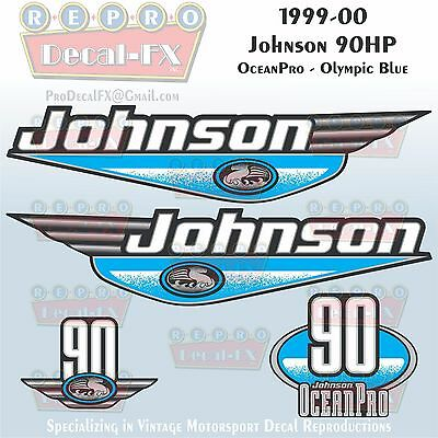 1999-00 Johnson 30 HP Olympic Blue Outboard Reproduction 9 Pc Marine Vinyl Decal
