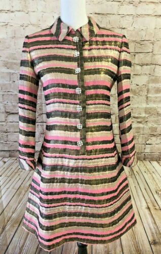 Vintage 50s BEN ZUCKERMAN Metallic Brocade Pink Si
