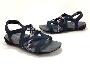 New-JSport-by-Jambu-size-8-Woodland-Navy-Blue-Floral-Vegan-Strappy-Sport-Sandals