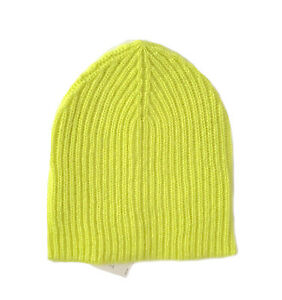 Ann-Taylor-LOFT-Womens-NWT-Neon-Chartreuse-Ribbed-Knit-Basic-Beanie-Hat