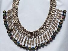 VINTAGE RAINBOW FOIL GLASS BEAD DANGLING BOOKCHAIN CLEOPATRA NECKLACE