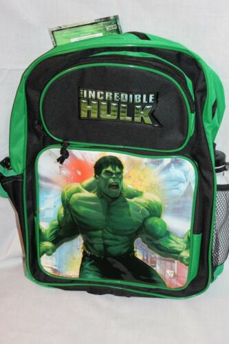 NEW WITH TAG INCREDIBLE HULK  MARVEL 2008 LARGE BACKPACK WITH WATER BOTTLE