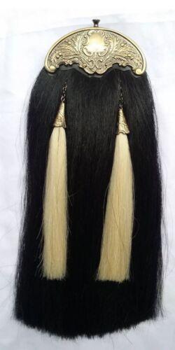 Scottish Piper Kilt Sporran Black Horse Hair Antique Cantle//Horse Hair Sporrans