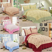 Quilted Embroided Bedspread Set Bed Throw With 2 Pillow Shams Double King Size