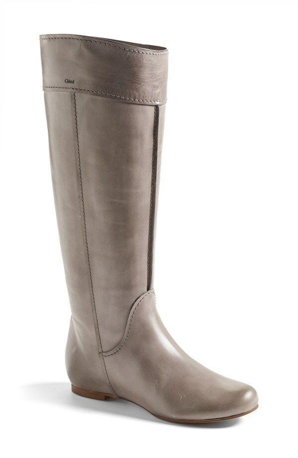 Nuevas Talla 7 7 7 37 Chloe Heloise. Piel de Becerro Cuero gris Bota Alta Zapatos Tacón Bajo  entrega de rayos