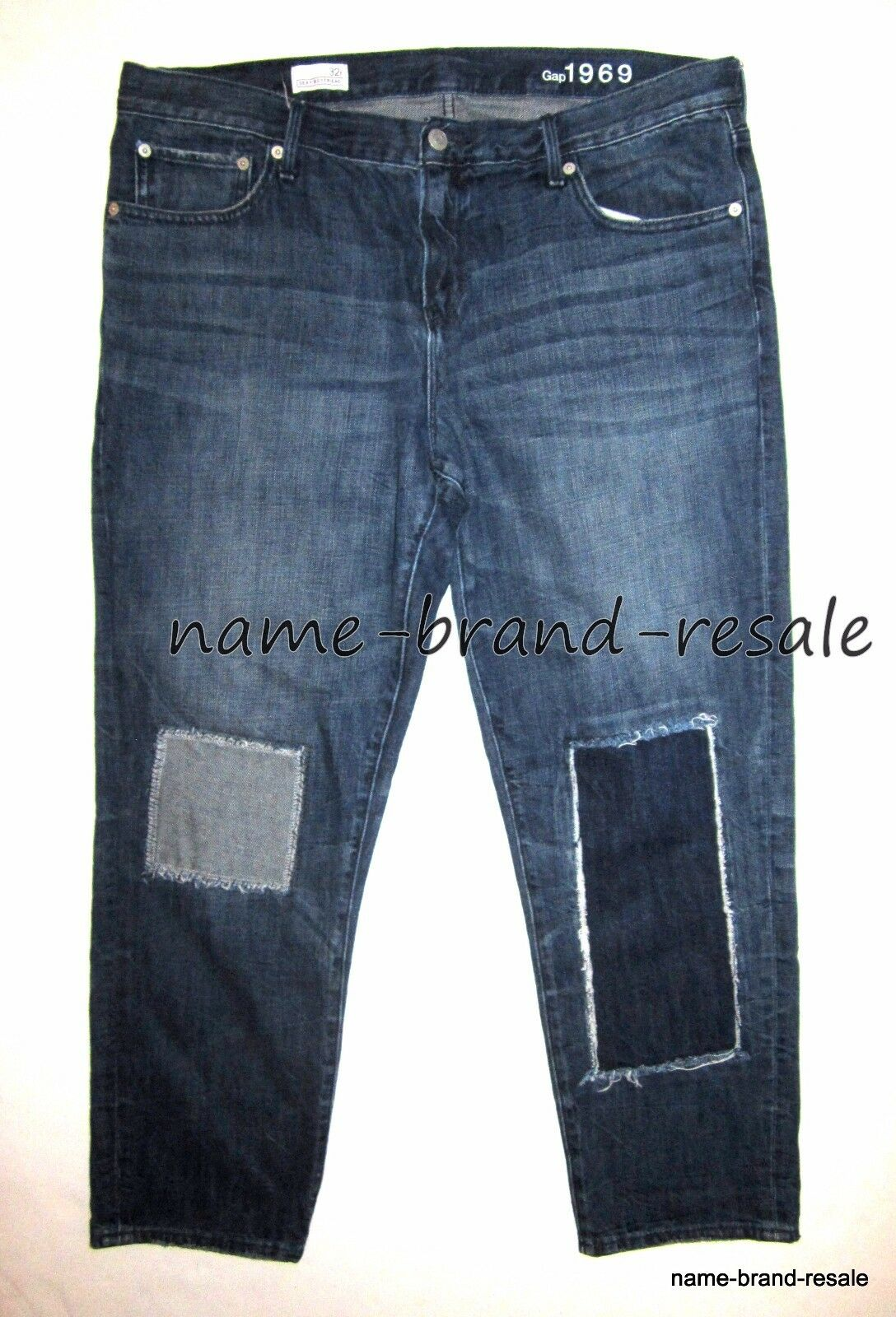 GAP 1969 SEXY BOYFRIEND Jeans Womens 32 R Faded Denim PATCHED Distressed RIPPED