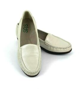 SAS-Simplify-Slip-On-Loafer-Womens-7-5N-Pearl-Bone-Leather-Tripad-Comfort-USA