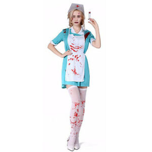 Tights /& Hat Womens Ladies Zombie Nurse Halloween Fancy Dress Costume Outfit