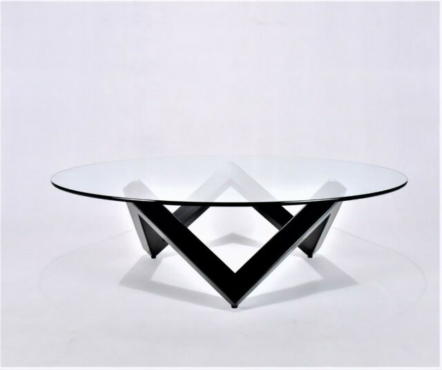 Round Glass Top Coffee Table Side Table with Black Wood Base