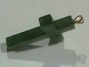 Appris Tai Jade Croix Or 14kt Double Oreille Lapin Bale Comme Neuf Vieux Vert Jade Stock!-afficher Le Titre D'origine Performance Fiable