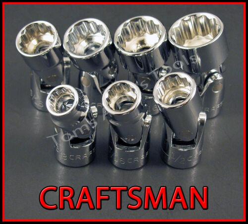 CRAFTSMAN HAND TOOLS 7pc 3//8 12Pt SAE Universal Flex ratchet wrench socket set !