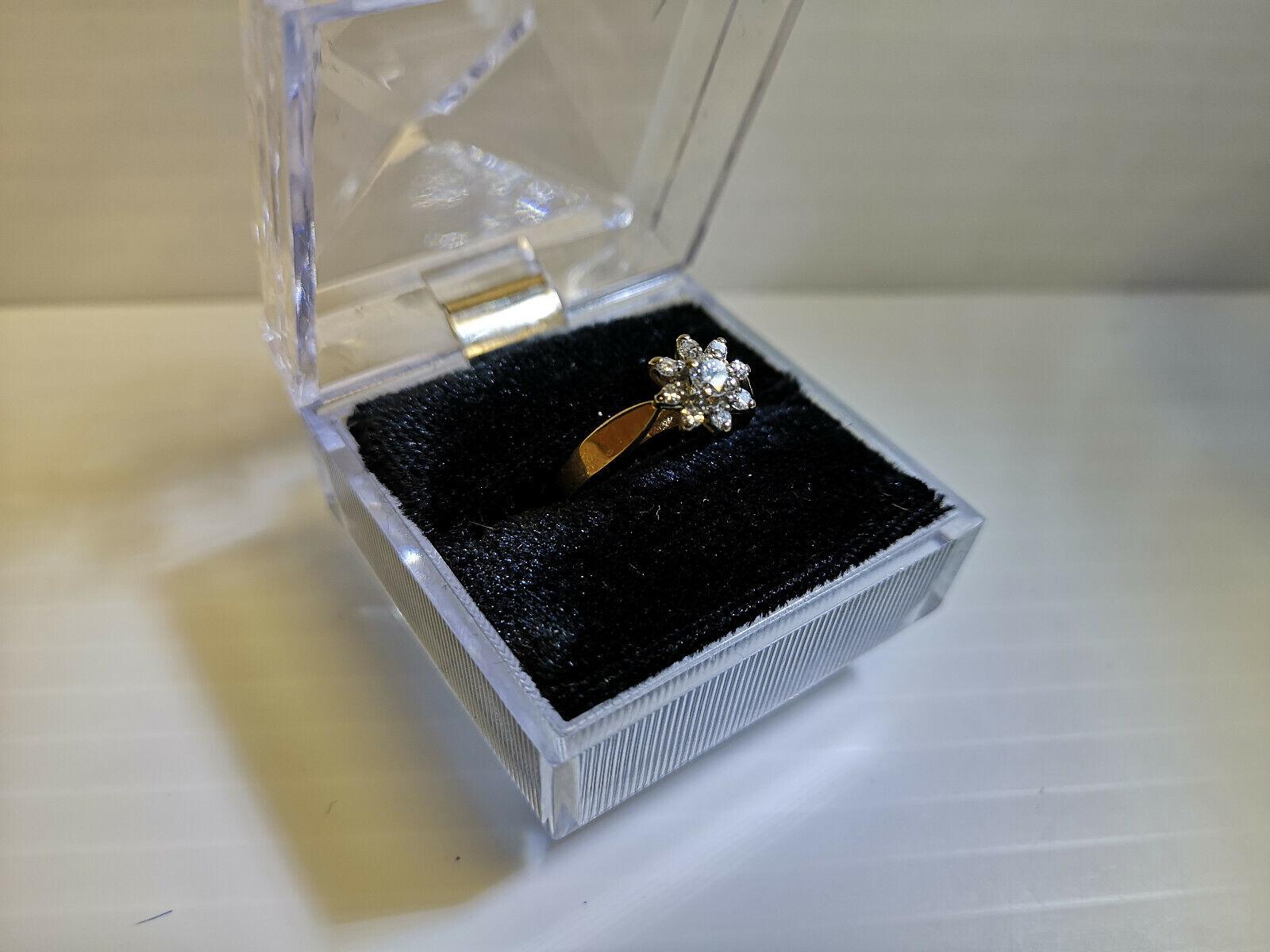 (N16004) 14K Duo gold Diamond Flower Ring