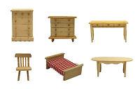 Natural Wood Dollhouse Furniture 6-piece Set
