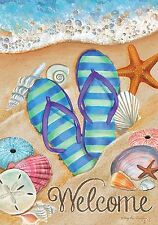 """Day in the Sun Summer House Flag Flip Flops Welcome Shoreline 28"""" x 40"""""""