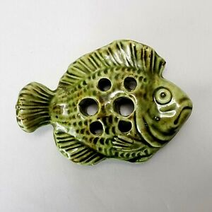 Antique Brush McCoy FISH Flower Frog Arts & Crafts Figural Majolica Green Glaze