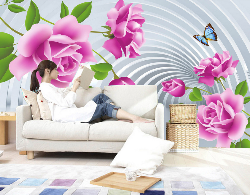 3D Flowers Butterfly Stripe Paper Wall Print Wall Decal Wall Deco Indoor Murals