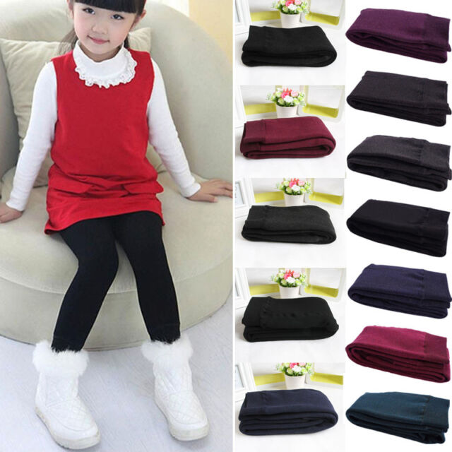 Kids Baby Girls Winter Warm Thick Leggings Fleece Lined Pants Trousers Bottoms #