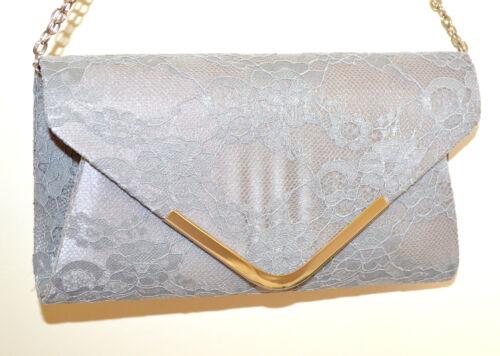 Gris Encaje Bolso Plata Bag Pochette Bordado Clutch Mujer Cadena G55 Elegante 5pXqrXw