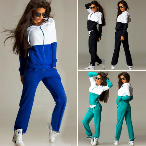 Womens Tracksuit Hoodie Sweatshirt Pants 2Pcs Sets Jogger Training Casual Suit