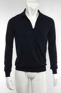 333ca734 Details about SAINT LAURENT YSL Mens Navy Blue Wool Thin Knit Polo  Long-Sleeve Sweater Shirt L
