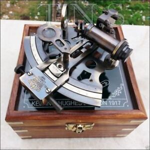 Antique-Collectible-Nautical-Brass-Working-German-Marine-Sextant-w-Wooden-Box