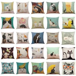 Vintage-Cute-Cat-Sofa-Bed-Pillow-Case-Cushion-Cover-Festival-Party-Home-Decor-AU