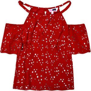 Girls-Cold-Shoulder-Star-Chiffon-Top-New-Kids-Party-Dance-Summer-T-shirt-7-14-Yr
