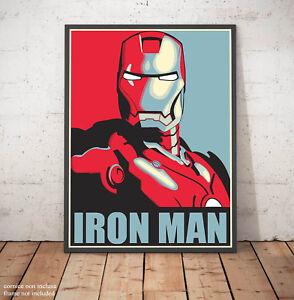 🎨 Poster Shepard Fairey IRON MAN Avengers Stampa Fine Art Hi-Res Alta Qualità