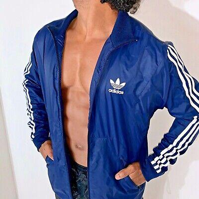 Super Rare Vintage Adidas Originaux Veste Coupe Vent Bleu Coque Cal Surf Moyen | eBay