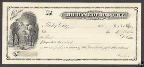 Bank of Ruby City Cert.of Deposit CO Intaglio Print