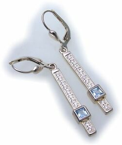 Ohrringe Hänger Rechteck Silber 925 Sterlingsilber Aquamarin Zirkonia Ohrhänger Verschiedene Stile
