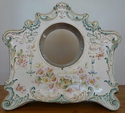 """Antique Porcelain Clock Case Floral Design 10 5/8""""H x 11 1/4""""W x 4 1/4"""" Opening"""